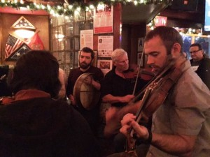 Playing fiddle at the Ould Sod with my sons Brad (on fiddle in the foreground) and Pat (bodhron on my right)
